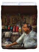 City - Ny - The Pretzel Vendor Duvet Cover by Mike Savad