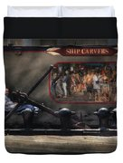 City - Ny South Street Seaport - Ship Carvers Duvet Cover by Mike Savad