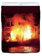 City - Vegas - Treasure Island - Explosion Abandon Ship Duvet Cover by Mike Savad