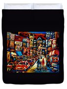 City At Night Downtown Montreal Duvet Cover by Carole Spandau