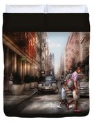 City - Ny - Walking Down Mercer Street Duvet Cover by Mike Savad