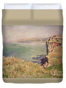 Cliff At Varengeville Duvet Cover by Claude Monet