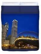 Cloud Gate The Bean Sculpture In Front Duvet Cover by Axiom Photographic