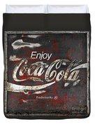 Coca Cola Grunge Sign Duvet Cover by John Stephens