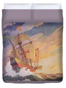 Columbus Crossing The Atlantic Duvet Cover by Newell Convers Wyeth