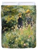 Conversation In A Rose Garden Duvet Cover by Pierre Auguste Renoir