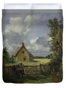 Cottage In A Cornfield Duvet Cover by John Constable