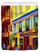 COURTYARD CAFES Duvet Cover by CAROLE SPANDAU