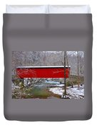 Covered Bridge Along The Wissahickon Creek Duvet Cover by Bill Cannon
