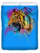 Crazy Tiger Duvet Cover by Olga Shvartsur
