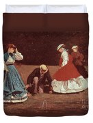 Croquet Scene Duvet Cover by Winslow Homer