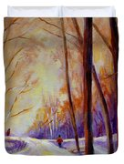 Cross Country Sking St. Agathe Quebec Duvet Cover by Carole Spandau