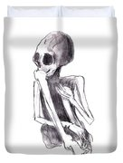Crouched Skeleton Duvet Cover by Michal Boubin