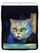 Curious Kitten Watercolor Painting  Duvet Cover by Svetlana Novikova
