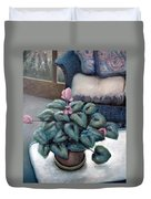 Cyclamen And Wicker Duvet Cover by Michelle Calkins