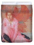 Dame En Rose Duvet Cover by Edmond Francois Aman Jean