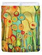 Dance Of The Flower Pods Duvet Cover by Jennifer Lommers