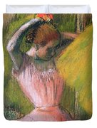 Dancer Arranging Her Hair Duvet Cover by Edgar Degas