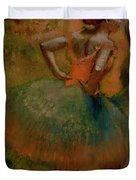 Dancers Wearing Green Skirts Duvet Cover by Edgar Degas