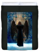 Dark Angel At Church Doors Duvet Cover by Jill Battaglia