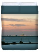 Dawn At The Sunshine Skyway Bridge Viewed From Tierra Verde Florida Duvet Cover by Mal Bray