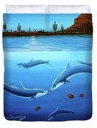 Desert Dolphins Close  Duvet Cover by Lance Headlee