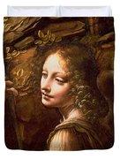 Detail of the Angel from The Virgin of the Rocks  Duvet Cover by Leonardo Da Vinci