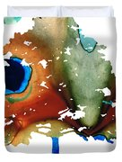 Determination - Colorful Cat Art Painting Duvet Cover by Sharon Cummings