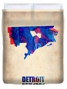 Detroit Watercolor Map Duvet Cover by Naxart Studio