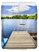 Dock on lake in summer cottage country Duvet Cover by Elena Elisseeva