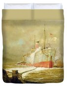 Docking A Cargo Ship Duvet Cover by William Lionel Wyllie