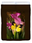 Dogface Butterfly On Pink Calla Lily  Duvet Cover by Garry Gay
