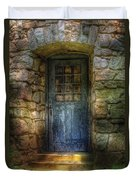 Door - A Rather Old Door Leading To Somewhere Duvet Cover by Mike Savad