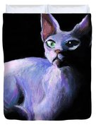 Dramatic Sphynx Cat Print Painting Duvet Cover by Svetlana Novikova