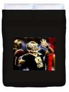 Drew Brees New Orleans Saints Duvet Cover by Paul Van Scott
