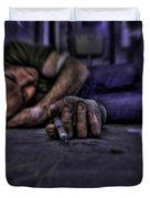 Drug addict shooting up Duvet Cover by Guy Viner
