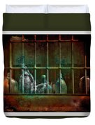 Dusty Old Bottles Duvet Cover by Mal Bray
