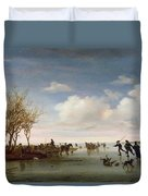Dutch Landscape With Skaters Duvet Cover by Salomon van Ruysdael