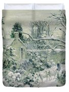 Effect of Snow with Cows at Montfoucault Duvet Cover by Camille Pissarro