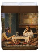 Egyptian Chess Players Duvet Cover by Sir Lawrence Alma-Tadema