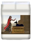 Egyptian Woman And Anubis Statue Duvet Cover by Corey Ford