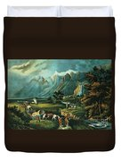 Emigrants Crossing The Plains Duvet Cover by Currier and Ives