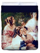 Empress Eugenie And Her Ladies In Waiting Duvet Cover by Franz Xaver Winterhalter