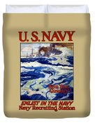 Enlist In The Navy Duvet Cover by War Is Hell Store