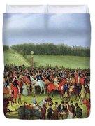 Epsom Races - The Betting Post Duvet Cover by James Pollard