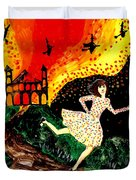Escape From The Burning House Duvet Cover by Sushila Burgess