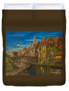 Evening In Brugge Duvet Cover by Charlotte Blanchard