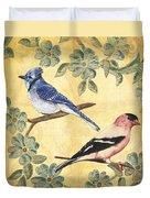 Exotic Bird Floral And Vine 1 Duvet Cover by Debbie DeWitt