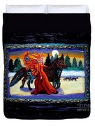 Faerie And Wolf Duvet Cover by Genevieve Esson