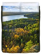 Fall Forest And Lake Top View Duvet Cover by Elena Elisseeva